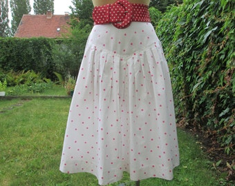 Cotton Skirt / Skirt Vintage / Full Skirt/ Size EUR40 / UK12 / Side Pockets / White Cotton Skirt / Pink Polka Dots