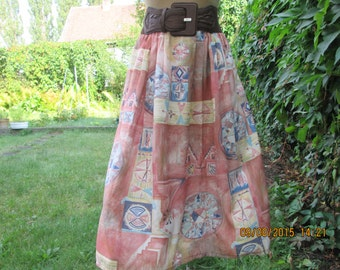 Full Skirt Vintage / Size EUR42 / 14 / Lining / Pockets / Side  Elastic Waist / Viscose