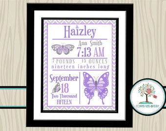 Birth Stats Wall Art, Birth Stats, Nursery Art, Nursery Print, Birth Print, Nursery Wall Decor, Birth Announcement, Personalized, Butterfly