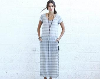 SALE! Striped Maxi T-shirt dress, Light Gray.