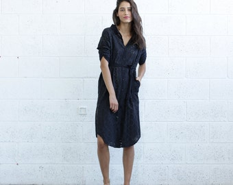 SALE 30% OFF! Embroidered Button down dress, Black.