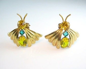 Art Deco Brooch Pair. Rhinestone Butterfly. Dress Clips. Winged Insect Bug. Fur Clips. Sterling Clasp. Vintage Retro 1940s Jewelry.