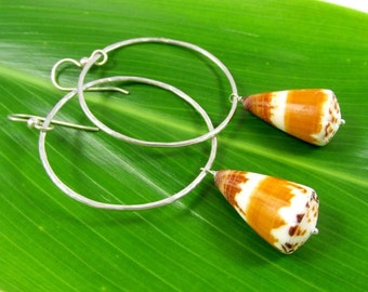 Sterling Silver Hoop Earrings, Hawaiian Cone Shells, Hammered Hoops, Hawaii Beach Jewelry, Handmade Hana Maui, Mermaid Fashion, Gift Idea