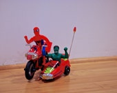 Vintage Spider-man and Incredible Hulk Motorcycle with Sidecar battery-operated rare collector's toy near mint with box Bump Stop 'n Go
