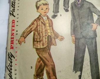 1955 Simplicity 1332 Size 6 Boys Suit Sewing Pattern Boys Vest, Jacket, Pants Pattern Supply Boys Vest Boys Cuffed Trousers Boys Jacket c