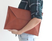 Leather Envelope Clutch Document Holder. Tan Leather Clutch. Envelope Clutch. Document Organizer. Document Holder. Men Clutch. Men Work Bag