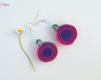 Pink Purple Grey Felt Dangle Earrings With Greay Beads OOAK Eco-Friendly