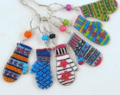 colorful mitten stitch markers, whimsical knitting accessory, fun gift for knitters, snag free