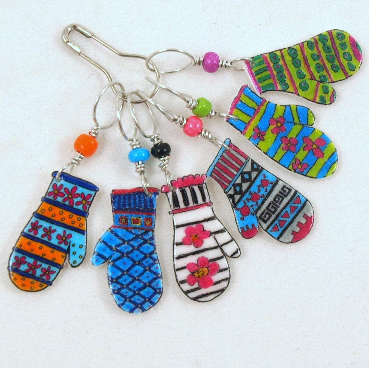 Knitting Markers Etsy : Colorful mitten stitch markers whimsical knitting