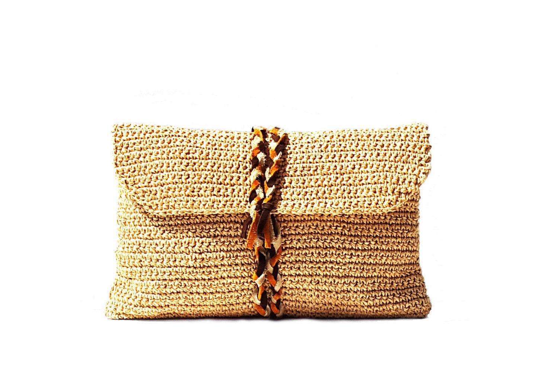 Paper raffia crochet clutch straw clutch summer clutch