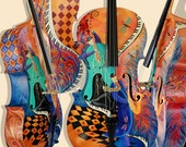 Hand Painted Cello Musical Instrument Colorful Art