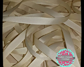 """3/8"""" Ivory Grosgrain Ribbon Sold in 5 Yard Increments"""