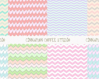 Cute Chevron Backgrounds, Lovely Pastel Chevron Digital Papers, Pink, Blue, Mint Chevron Texture, set of 8