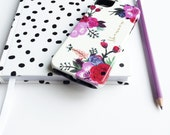 Red Painted Floral Phone Case