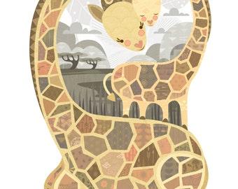 Heart Giraffes Fine Art Print