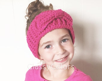 TODDLER EAR WARMER : hot pink ear warmer, headband with bow toddler and women's sizes