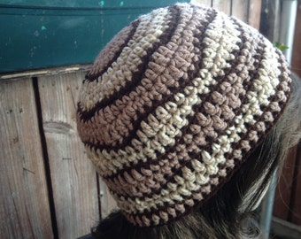 Coffee - Brown - Beige  MEN - WOMEN  Unisex  Tam Hat  Rasta Hippie Hand crochet