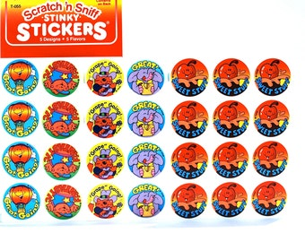 Scratch 'n Sniff Sticker Sheet of 12 Pick From Great, Great Going, Fantastic, Grape Going, & Sweet Stuff