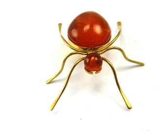 Amber Brooch, Spider Brooch, Bug Brooch, Insect Jewelry, Bug Pins, Spider Pins Gold, Halloween Jewelry, 1970s Russian, Vintage Jewelry
