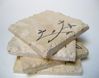 Stone Tile Drink Coasters Set of 4 Bamboo Hand Painted Trivets