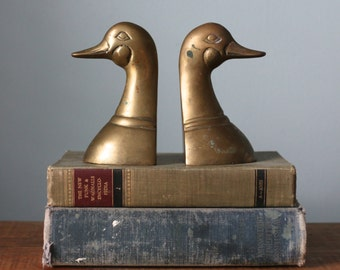 Heavy Aged Brass Geese Duck Bookends