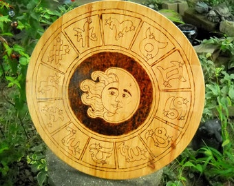 Wood Burned Zodiac Wheel, Zodiac wall hanging, Zodiac plaque, Sun signs, Sun and Moon, Wood wall hanging, Wood plaque, Statement piece