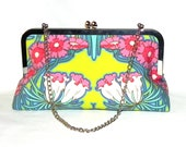 Aqua, pink, yellow and blue floral Clutch - Silver kisslock frame with chain