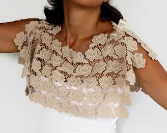 Bridal Cape, Cotton Lace Bolero Shrug, Beige Wedding Dress Cover Up Special Occasion Capelet Handmade