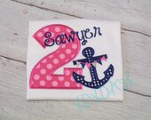 Anchor Nautical Themed Girls Birthday shirt in Navy and HOT Pink--ANY age or number-- Girls Birthday Shirt--Embroidered shirt or bodysuit