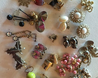 Clip Only Earrings Vintage De-stash lot 617