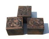 Vintage Copper Plate Print Blocks: 3 Sport Theme Printer Blocks