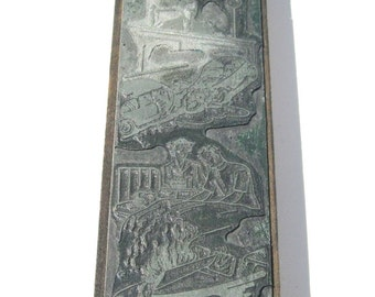 Vintage Print Block: OOAK Metal on Wood, Six Accident Scenes, Letterpress Print Block