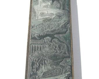 Vintage Print Block: OOAK Metal on Wood, Six Accident Scenes, Letterpress Print Block
