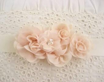 Bridal Sash Wedding Sash Blush Wedding Sash Chiffon Blossoms Satin Sash Flower Girl Bridesmaids Wedding Sash Bridal Sash