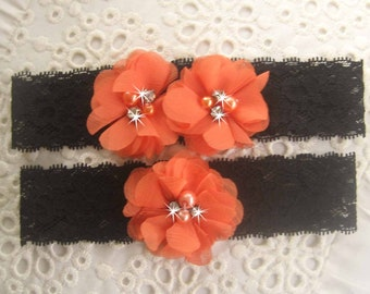 Halloween Wedding Garter , Black Lace Wedding Garter Set with Toss Garter in Orange and Purple  , Bridal Garter with Chiffon Blossoms