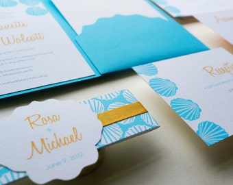 Seashell wedding invitation. Destination Wedding. Beach wedding invitation. Turquoise and Yellow Invitation- Sample