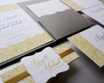 Wedding Invitation, Lace Wedding Invitation, Antique Gold and Silver Wedding Invitation - Sample