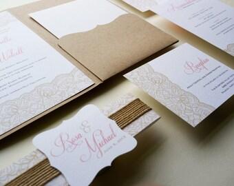 Rustic Wedding Invitation, Pink Lace Wedding Invitation  - Sample