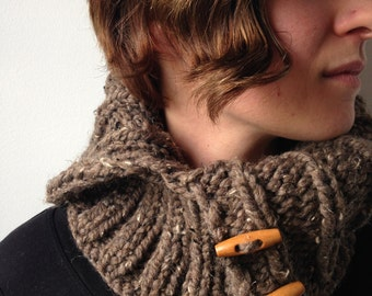Rustic Ribbed Unisex Wool Blend Button Cowl