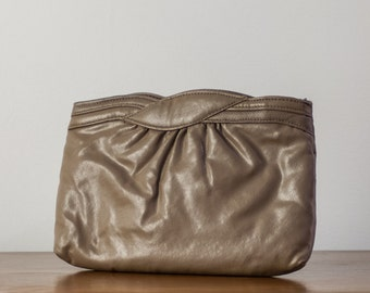 Vintage Taupe Pleated Clutch
