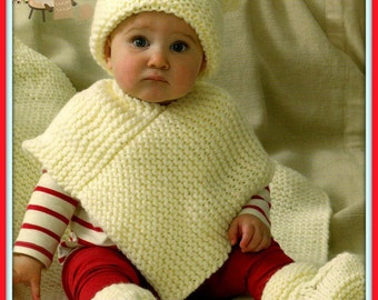 PDF Knitting pattern for a Babies/Child's Poncho, Hat, Bootees & Blanket in Chunky Wool - Easy/Novice Knitting - Instant Download