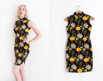 vintage 1960s Cheongsam dress // 60s floral Qipao wiggle dress