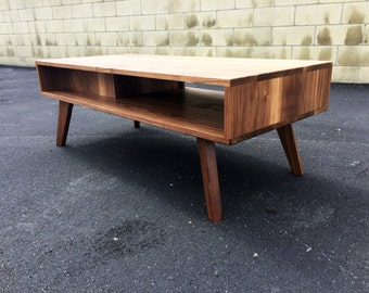 "The ""Par"" a mid century modern coffee table, modern coffee table. solid walnut"