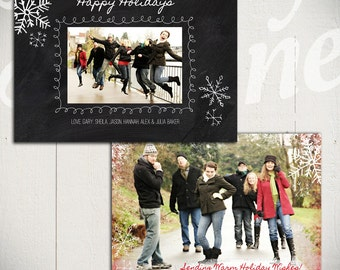 Christmas Card Template: Blackboard Holiday A - 5x7 Holiday Card Template for Photographers