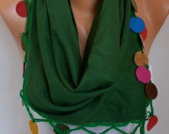 Green Pashmina Scarf Teacher Gift  Cotton Cowl Shawl Leather Gift Ideas For Her Women Fashion Accessories Scarves
