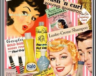 5x7 sassy Retro inspired digital collage hairstylist retro beauty Ads-sassy ladies-Halo-Prell-Helene shampoos-digital-gift for hairstylist