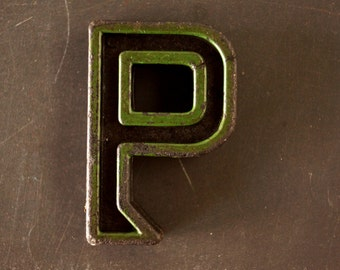 """Vintage Industrial Letter """"P"""" Black with Green and Orange Paint, 2"""" tall (c.1940s) - Monogram Display, Shadow Box Letter, Art"""