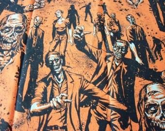 "Zombies Fabric Halloween Orange Scary Rare & HTF 23"" x 22"""