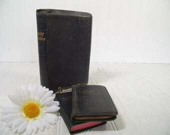 Antique Black Leather Holy Bible & Psalms Books Set of 3 - Vintage Collection of 3 Black Leather Religious Books - Bible and 2 Pocket Books