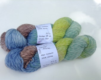 "Clearance - Handpainted Yarn, Worsted Twisty Merino ""Atlantis"", 3.5 oz"
